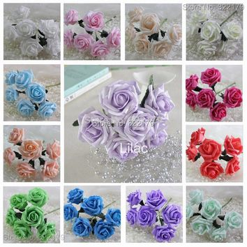 72pcs Free Shipping Artificial Foam flowers With Stems Leaves Latex Real Touch Flowers For Wedding Bouquet Flowers