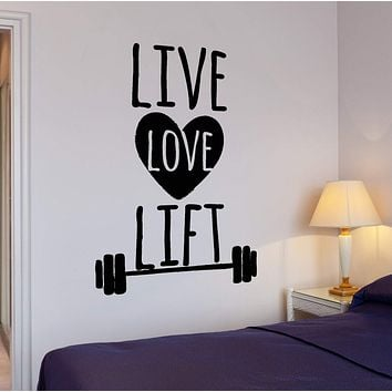Wall Vinyl Decal Funny Sport Quote Live Love Lift Barbell Home Interior Decor Unique Gift z4271
