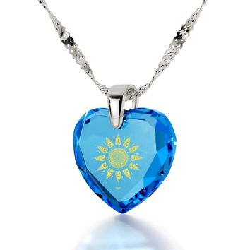 """I Love You to the Sun and Back"", 925 Sterling Silver Necklace, Cubic Zirconia"