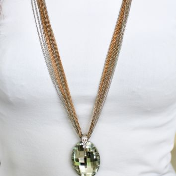 Long Two-Tone Multi Chain Oval Necklace