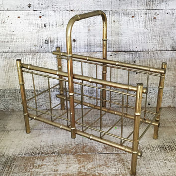 Magazine Rack Brass Faux Bamboo Magazine Holder Mid Century Magazine Rack Gold Tone Magazine Holder Record Holder Album Holder