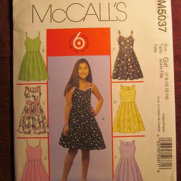 SALE Uncut McCall's Sewing Pattern, 5037! 7-8-10-12-14 small/Medium/Large/Girls/Kids/Child/Full Flared Dress/Retro Style/Sleeveless Dresses