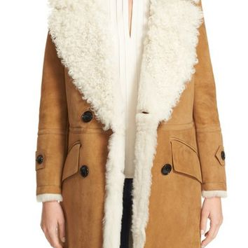 Burberry Candleton Removable Collar Genuine Shearling Jacket | Nordstrom