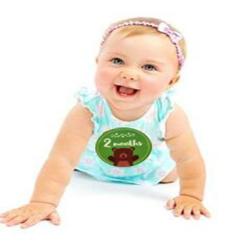 Baby Monthly Stickers self-adhesive sticker with lovely sprouts growing together words Birthday Shower 24 Pack of 10.5cm*10.5cm