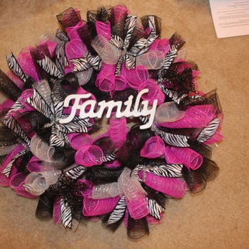 Full size-Beautiful Pink,black, Zebra deco mesh Family Wreath
