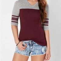 Dark Purple Varsity Striped Tee