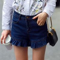 Blue High Waisted Ruffled Shorts