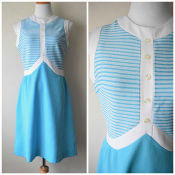60s Ultra Mod Striped A-Line Shift Scooter Dress in Bright Sky Blue & White // Mad Men Peggy Olson, Twiggy, Jean Shrimpton Style // Sz M/L