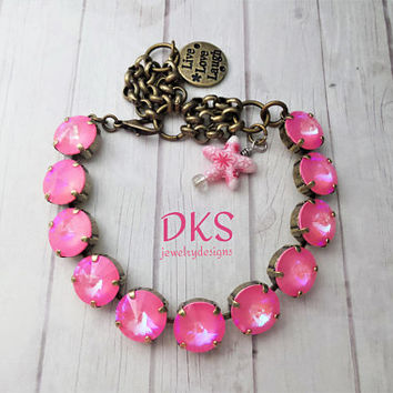 PInk Coral, Swarovski Crystal 12mm Bracelet, Beach Jewelry, Adjustable, Antique Gold, DKSJewelrydesigns, FREE SHIPPING