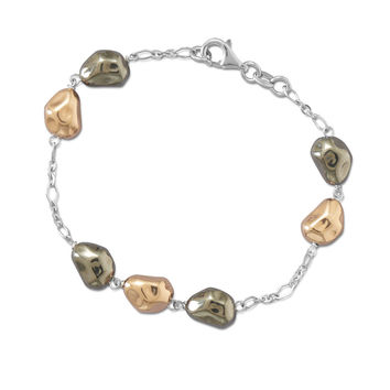 Rhodium Plated Bi Tone Pebble Bracelet