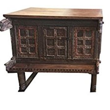 Antique Carved Iron nailed Chest, Damchia Banjara Tribal Sideboard, Buffet Jaipur India 18c