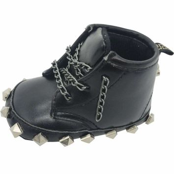 Baby Boy Rivet Detailed Biker Boots With Metal Chain Laces