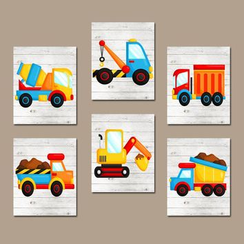 CONSTRUCTION Wall Art, Truck Wall Decor, Big Boy Bedroom, CANVAS or Prints, Baby Boy Nursery Decor, Dump Truck, Tractor, Theme Set of 6