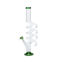Tall Glass Zong Bong - Quad Razorback Hooks - 20 Inches - Green, Amber