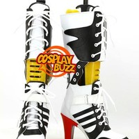 Suicide Squad Harley Quinn Custom-Made Black White Red Shoes / Boots CPA115 - CosplayBuzz