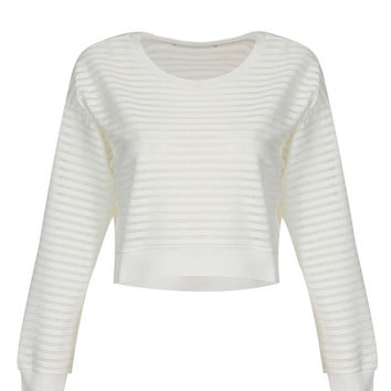 Stripe Cropped Top in White