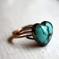 Turquoise Heart Nest Ring by RachelPfefferDesigns on Etsy