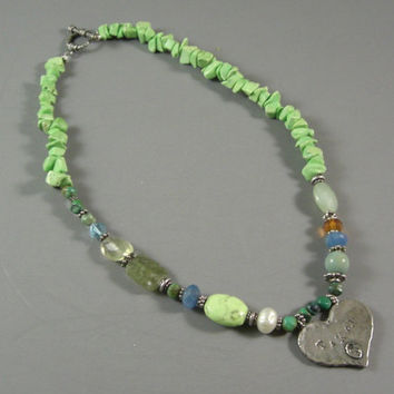 "Mixed Stone Necklace w/ Hammered ""Taken"" Pendant / Hip Semi Precious Stones/Beads"
