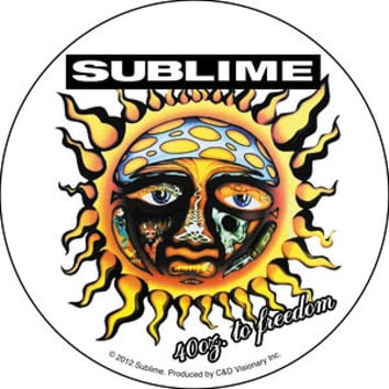 Sublime Vinyl Sticker Round Freedom Sun Logo