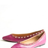 most impressed studded flats in berry at ShopRuche.com