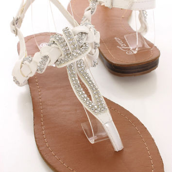 White Rhinestone Braided Trim Sandals