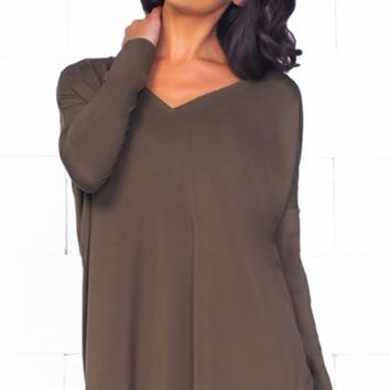Piko 1988 Bamboo Army Green Long Dolman Sleeve V Neck Piko Bamboo Basic Loose Tunic Tee Top