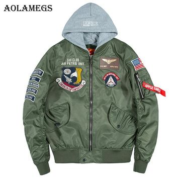 Trendy Aolamegs Bomber Jacket Men Badge Air Pilot Hooded Thin MA-1 Men's Jacket Hip Hop Fashion Outwear Men Coat Bomb Baseball Jackets AT_94_13
