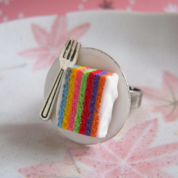 Rainbow Cake Ring, Slice Cake On Ceramic Plate With Silver Fork, Miniature Food Cute Pastry Jewelry, Ring Or Necklace