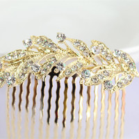 Gold Bridal Comb/Bridal Floral Hair Comb/Rhinestones Leaf Crystal Comb Clip/Wedding Bride Hairpiece/Bridesmaid Hair Comb/Gold Hair Comb