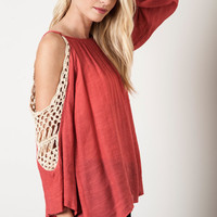 Crochet Cold Shoulder Top - Pink