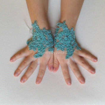 Flower girl mint green lace gloves wedding bridal beaded gloves french lace for princess beads wedding gloves lace