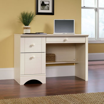 Sauder Harbor View Computer Desk Antiqued White Finish '