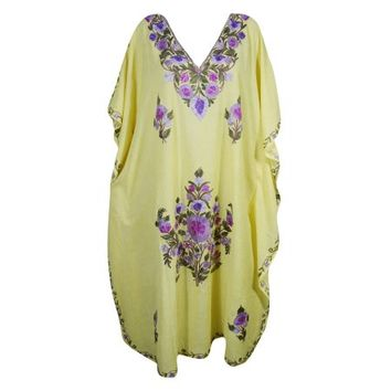 Mogul Womens Long Kaftan Yellow Kashmiri Floral Hand Embroidered Sleepwear Maxi House Dress - Walmart.com
