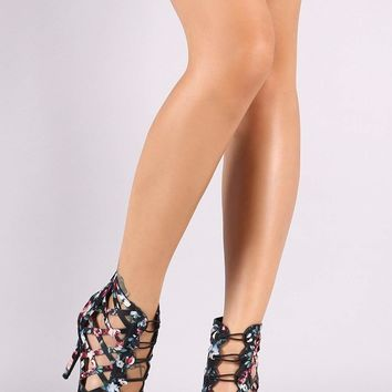 Qupid Floral Print Caged Button Accent Stiletto Heel