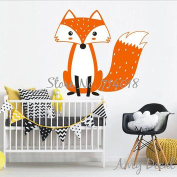 Cute Multicolor Woodland Fox Wall Decal Woodland Animal Nursery Decal Cute Fox Wall Sticker For Kids Room Vinyl Murals A808