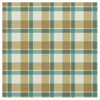 Beige Brown Green Plaid Pattern Fabric