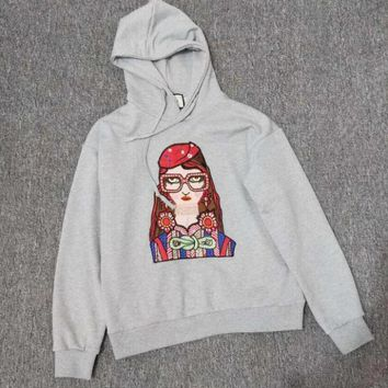 One-nice™ GUCCI autumn winter new eyeglasses girl print grey hoodie casual sports sweater top