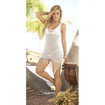 Mapale Sexy White Crochet with Fringe Beach Dress Cover-Up