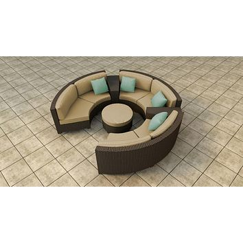 2017 outdoor crystal furniture rattan round sectional sofa set french style