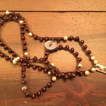 Boho Necklace - Crocheted With Faith Pendant - Wood and Freshwater Pearl