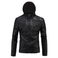 Black Quilted Leather Hoodie