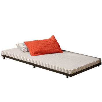 Black Twin Roll-Out Trundle Bed Frame