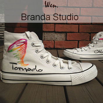 Oklahoma-Tornado,Studio High Top Hand Painted Shoes 49.99Usd,Paint On Custom Converse Shoes Only 89Usd,Buy One Get One Phone Case Free