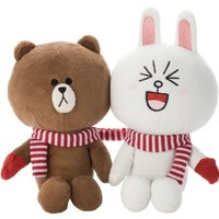 "JAPAN TAKARA TOMY LINE APP WINTER LOVER ""BROWN & CONY"" 17CM PLUSH DOLL SET"