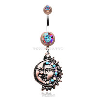 Vintage Boho Sun & Moon Belly Button Ring (Copper/Aurora Borealis)