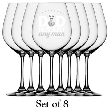 Gold Medal Dad 8 Pack White Wine Glassware Set