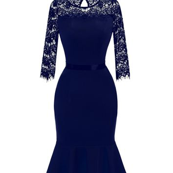 Blue Lace Midi Mermaid Dress