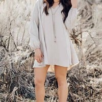Stone Flowy Long Sleeve Dress with Drawstring Detail