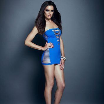 Seamless Shredded Mini Tube Dress (One Size,Blue)
