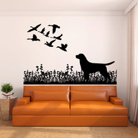 Labrador Dog and Ducks Vinyl Wall Decal Sticker Graphic